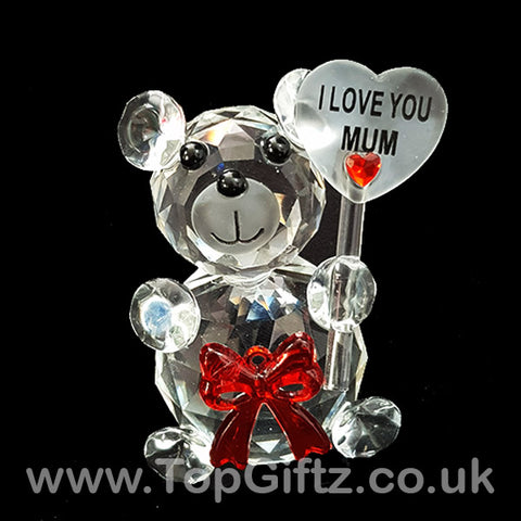 I Love You Mum Crystal Clear Teddy Bear Ornament & Red Ribbon_1