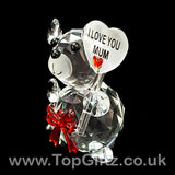 I Love You Mum Crystal Clear Teddy Bear Ornament & Red Ribbon_2