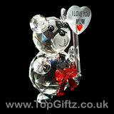 I Love You Mum Crystal Clear Teddy Bear Ornament & Red Ribbon_4