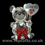 I Love You Mum Crystal Clear Teddy Bear Ornament & Red Ribbon_5