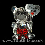 I Love You Mum Crystal Clear Teddy Bear Ornament & Red Ribbon_6