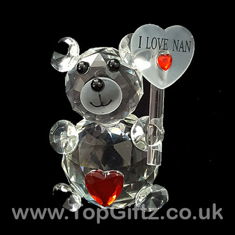 I Love You Nan Crystal Clear Teddy Bear Ornament & Red Ribbon_1