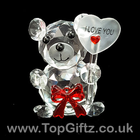 I Love You Crystal Clear Teddy Bear Ornament & Red Ribbon_1