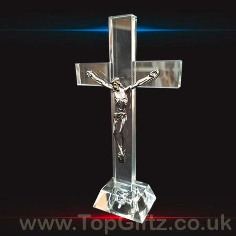 Crystal Clear Cross Crucifix With LED With Jesus - 17cm High_1