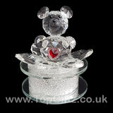 Crystal Clear Teddy Bear Ornament Sitting Circular Round LED_1