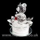 Crystal Clear Teddy Bear Ornament Sitting Circular Round LED_2