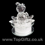 Crystal Clear Teddy Bear Ornament Sitting Circular Round LED_4