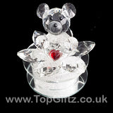 Crystal Clear Teddy Bear Ornament Sitting Circular Round LED_7