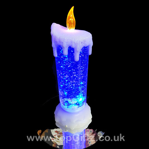 Colour Changing LED Candle Christmas Glitter Water Flickering_1