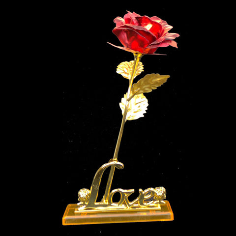 24K Carat Gold Plated Red Rose Flower with Stand 3D Love