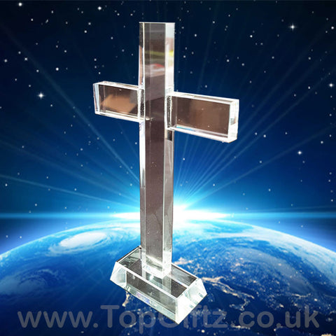 Crystal Clear Cut Glass Cross Crucifix No Figurine - 17cm H_1
