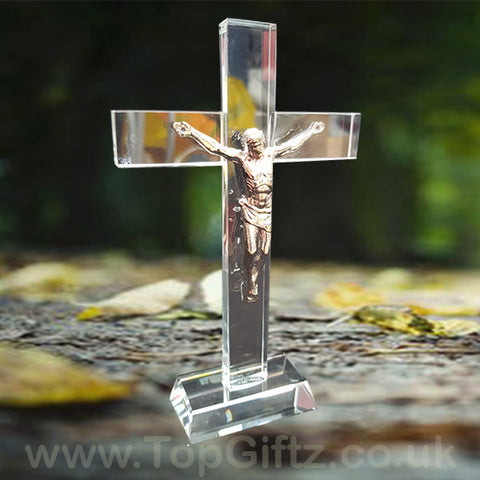 Crystal Clear Cross Crucifix Ornament Ichthys Figurine 17cm_1