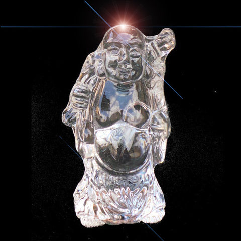 Clear Crystal Happy Laughing Buddha Ornament - 7.6cm High - TopGiftz
