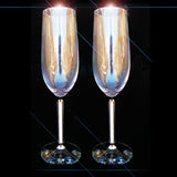 Clear Crystal Wine Glasses Flute Prosecco Swarovski Stem SET 24cm High - TopGiftz