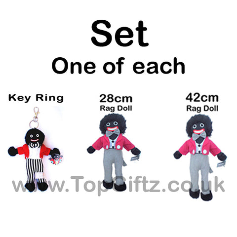 Set of golliwog gollywog jolly ragdoll a keyring 28cm 42cm high soft toy - TopGiftz