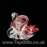 Crystal Clear Cut Glass 2 Swans Ornament Red Neck - 12cm H_2