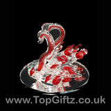 Crystal Clear Cut Glass 2 Swans Ornament Red Neck - 12cm H_3