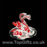 Crystal Clear Cut Glass 2 Swans Ornament Red Neck - 12cm H_6