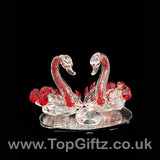 Crystal Clear Cut Glass 2 Swans Ornament Red Neck - 12cm H_8