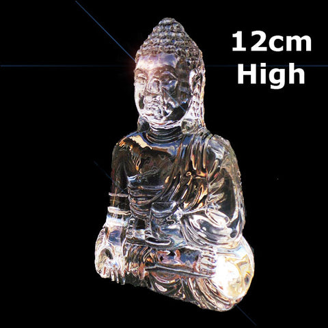 Large Thai Buddha Clear Crystal Sitting Down Meditating - 12cm - TopGiftz