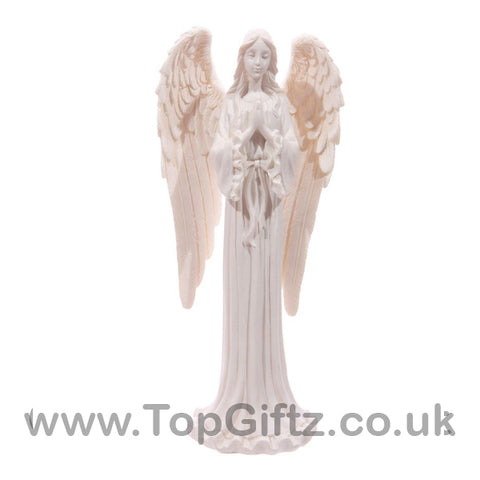White Angel Standing Figurine Praying Indoor & Outdoor 20cm_1