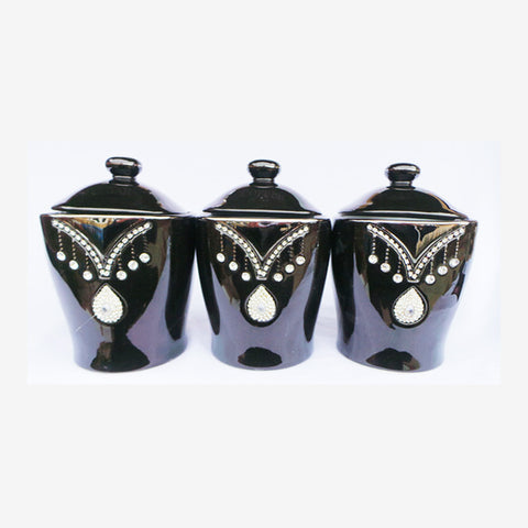 Black Airtight Porcelain Tea Coffee Sugar Set Decorated - TopGiftz