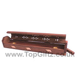 Incense Stick & Cone Carved Wooden Holder Storage Box - TopGiftz