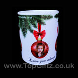 Personalised Christmas ceramic mug using own picture on baubles and with my Message image 5