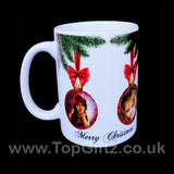 Personalised Christmas ceramic mug using own picture on baubles and with my Message image 1