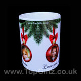Personalised Christmas ceramic mug using own picture on baubles and with my Message image 2