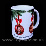 Personalised Christmas ceramic mug using own picture on baubles and with my Message image 3