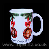 Personalised Christmas ceramic mug using own picture on baubles and with my Message image 4