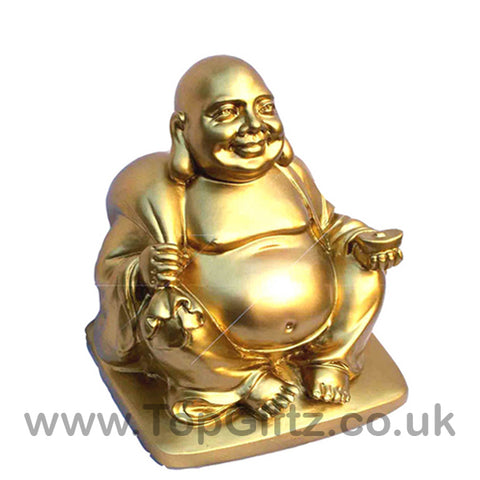 Gold Happy Laughing Buddha With The Money Bag - 3.81cm High - TopGiftz