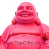 TopGiftz - Happy Laughing Buddha baby pink finish Holding sick of money sitting on square base_2