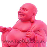 TopGiftz - Happy Laughing Buddha baby pink finish Holding sick of money sitting on square base_3