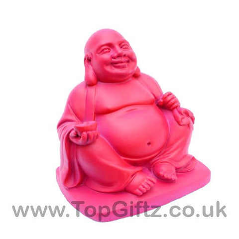 TopGiftz - Happy Laughing Buddha baby pink finish Holding sick of money sitting on square base_1