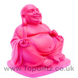TopGiftz - Happy Laughing Buddha baby pink finish Holding sick of money sitting on square base_4