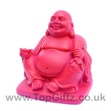 TopGiftz - Happy Laughing Buddha baby pink finish Holding sick of money sitting on square base_5
