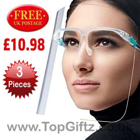 Plastic Adjustable Transparent Face Protective Shield x 3