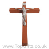Wooden Hanging Mounted Crucifix Cross Ichthys Figurine 20cmH_9