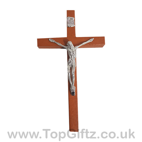 Wooden Hanging Mounted Crucifix Cross Ichthys Figurine 20cmH_1