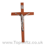 Wooden Hanging Mounted Crucifix Cross Ichthys Figurine 20cmH_2
