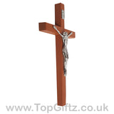 Wooden Hanging Mounted Crucifix Cross Ichthys Figurine 20cmH_3