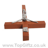 Wooden Hanging Mounted Crucifix Cross Ichthys Figurine 20cmH_4