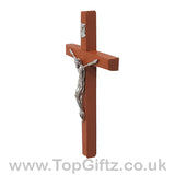 Wooden Hanging Mounted Crucifix Cross Ichthys Figurine 20cmH_5