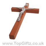 Wooden Hanging Mounted Crucifix Cross Ichthys Figurine 20cmH_6