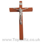 Wooden Hanging Mounted Crucifix Cross Ichthys Figurine 20cmH_8