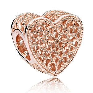 Pandora Rose Filigree and Beaded Heart Charm