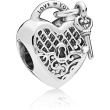 Load image into Gallery viewer, Pandora Love You Heart Padlock Charm