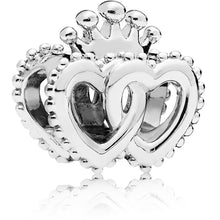 Load image into Gallery viewer, Pandora Crown and Interwined Hearts Charm